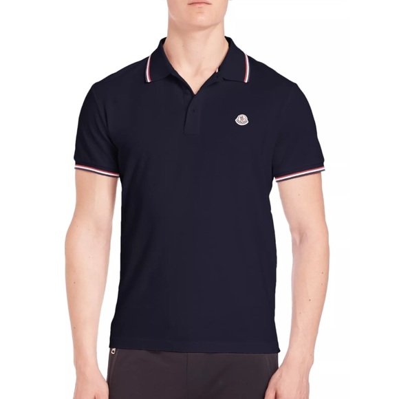 moncler navy blue polo